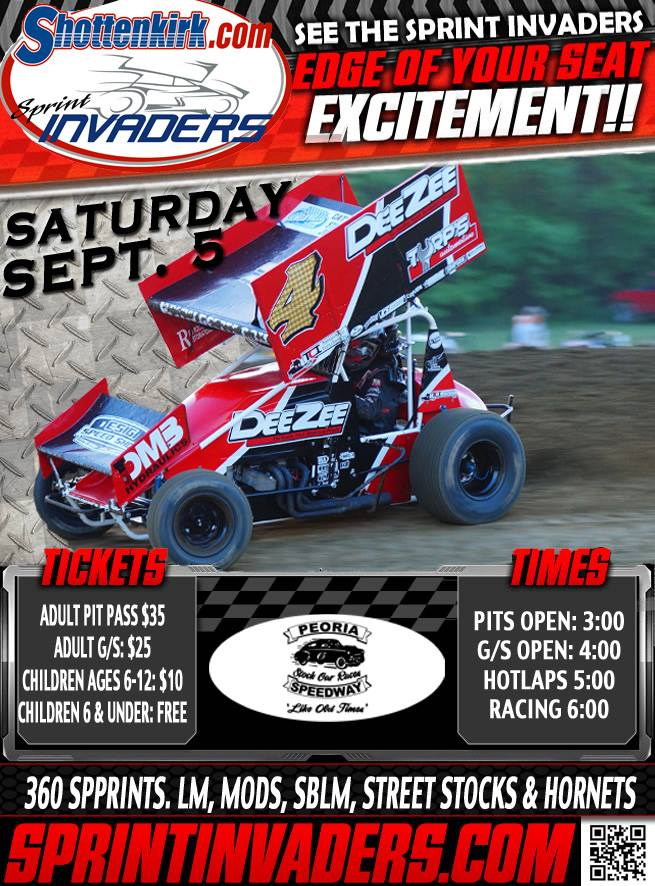 Sprint Invaders Sprint Car Series-Sept. 5th at Peoria Speedway post thumbnail image